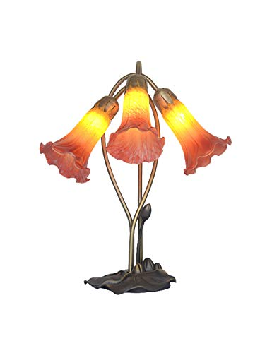 ZYear Lily American Style Stained Glass Table Lamp with Alloy Lotus Leaf Base (Color : Red)