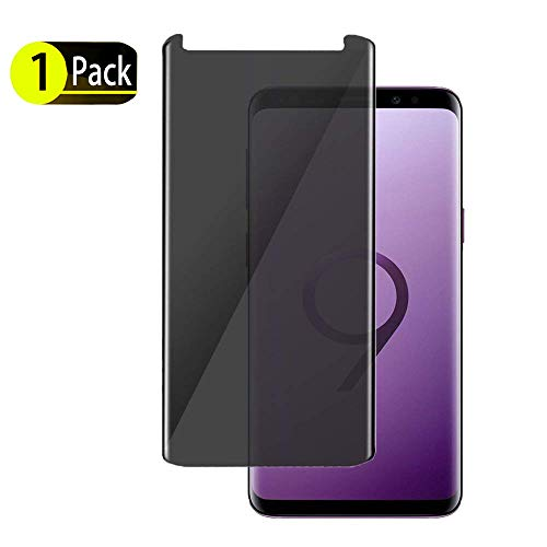 [1-Pack] SunCable Samsung Galaxy S9 Plus S9+ Privacy Tempered Glass Screen Protector[Anti Privacy] [Anti-Scratch/ Anti-Bubble] 3D Curved Privacy Tempered Glass for Samsung Galaxy S9 Plus (1Pack)