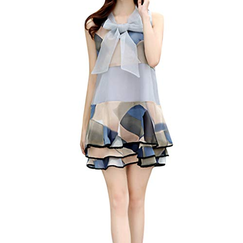 Pinleg Loose Dress, Women Summer Vintage Loose Sleeveless O-Neck Printing Short Dress Organza Dress Holiday Beach Bow Cake Skirt (Gray, M)