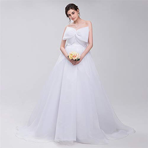YUEZHIMENG Haute Couture Women's Wedding Lace Strapless Elegant Temperament Princess Wedding Dress Adult Dress Evening Dress,US16W