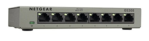 NETGEAR 8-Port Gigabit Ethernet Unmanaged Switch, Desktop, Internet Splitter, Sturdy Metal, Fanless, Plug-and-Play (GS308)
