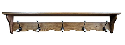 Oak Amish Wall Mounted Coat Rack Shelf 5 Hook - Upcharge for Cherry, Maple, Painted, Quartersawn Oak, Rustic Cherry, Distressed by Hope Woodworking