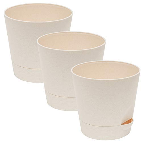 Flower Pots Self Watering Planter Pot Great for African Violet Plants and Flowers, Round Cylinder Pots with Drainage Built-in Saucer Tray, Indoor and Outdoor, Light-Beige Color, 5.5-Inch. Pack of 3. African Violet Pot Pots