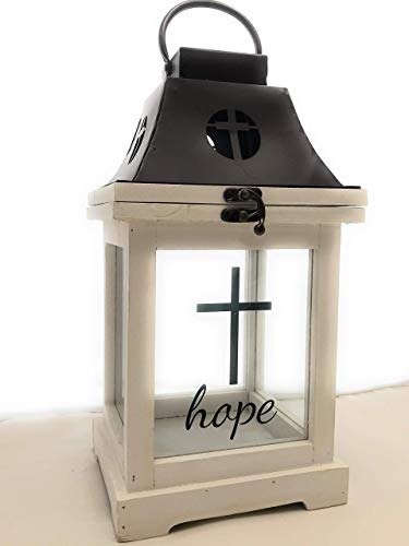 Inspirational Living Antique White Wooden Hope Decorative Religious Lantern- with Hinged Cross Tin Roof, Upgraded Handle & Glass Panes