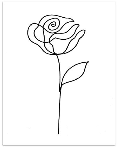 Rose Flower Wall Art - 11x14 Unframed, Minimalist Black & White Decor Print - Makes a Great Gift Under $15 for Botanical, Floral Lovers