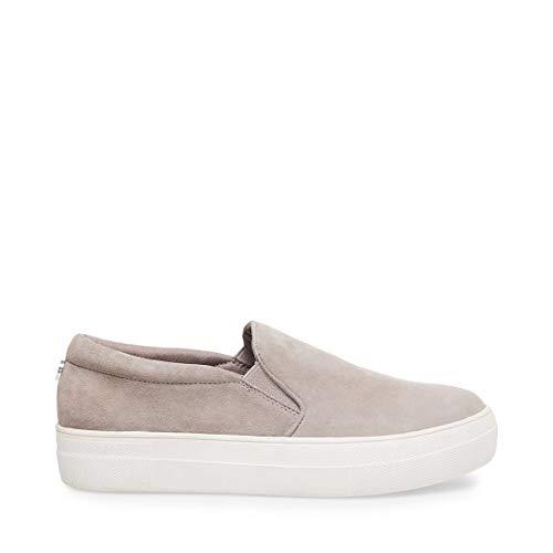 Steve Madden Women's Gills Sneaker, Grey Suede, 8 M US