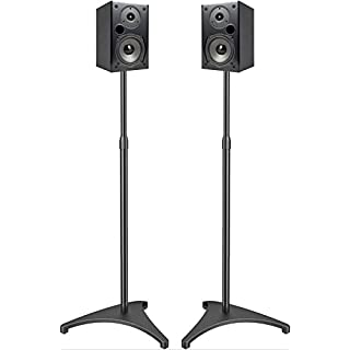 PERLESMITH Speaker Stands Extend 30-45 Inch with Upgraded Cable Management, Hold Satellite, Small Bookshelf & Bluetooth Speakers up to 8lbs(i.e. Vizio, Polk, Bose, JBL, Sony & Samsung) -1 Pair