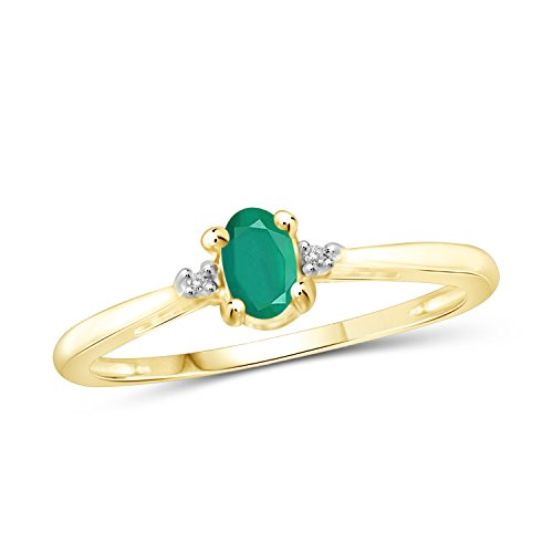 Jewelexcess 0.25 CTW Genuine Emerald Gemstone & Accent White Diamond Ring in 14k Gold Over Silver