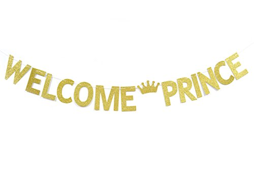Qttier Welcome Prince Gold Glitter Banner-Boy Baby Shower , Birthday, Pregnancy Reveal Banner