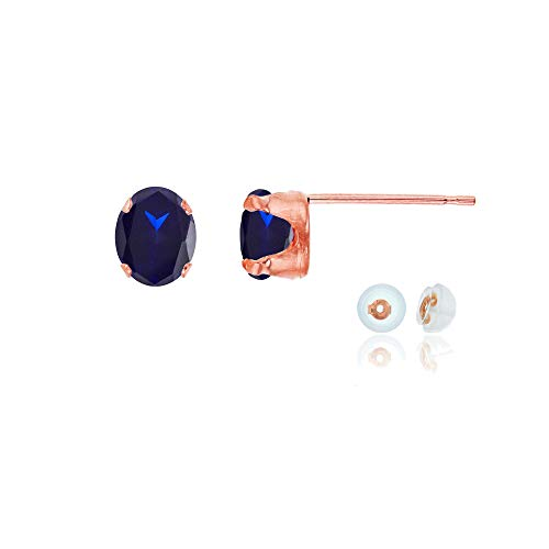 Genuine 14K Solid Rose Gold 6x4mm Oval Created Blue Sapphire September Birthstone Stud Earrings