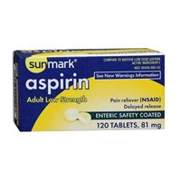 - Sunmark Aspirin Adult Low Strength 81 mg Enteric Safety Coated Tablets - 120 ct, Pack of 2