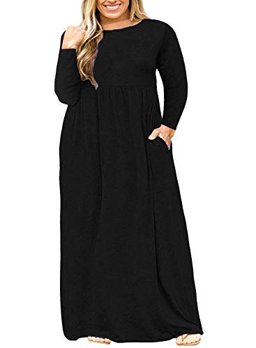 Nemidor Women Long Sleeve Loose Plain Casual Plus Size Long Maxi Dress with Pockets (Black+Sleeve, 20W)