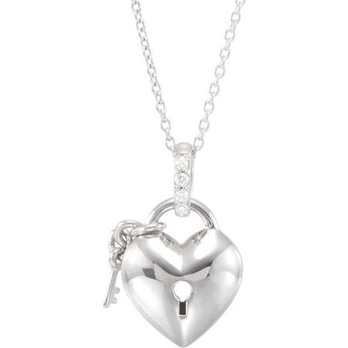 Sterling Silver Diamond Heart Lock and Key Necklace, 18'' by The Men's Jewelry Store