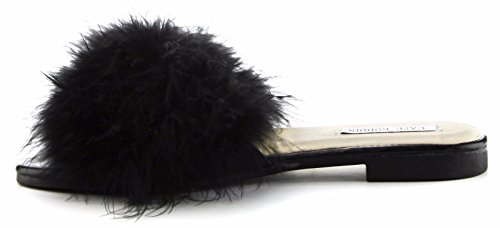 Cape Robbin Sandals-1 Women Flip Flop Fur Slide Slip On Flats Sandals Shoes Slippers Mule Black 6 qa0dt1KUZ