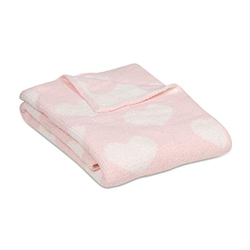(Living Textiles Chenille Baby Blanket. Pink Hearts Ultra-Soft Throw Blanket for Cribs and Strollers (40x30 inch))
