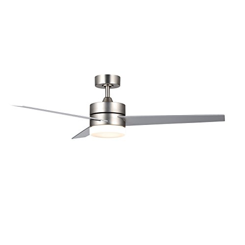 CO-Z Contemporary 52 Inch Ceiling Fan Light Brushed Nickel Finish with 3 Silver and Walnut Plywood Blades, Include 18W LED Light and Remote Control, UL Certificate