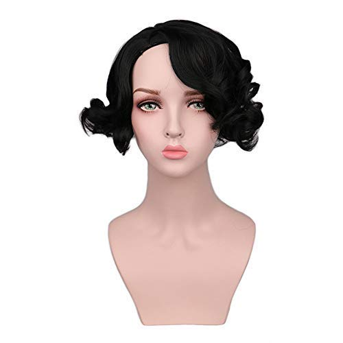 (Clearance Sale! Exteren Short Curly Wave Synthetic Hair Anime Deep Wave Heat Resistant Full Wigs)