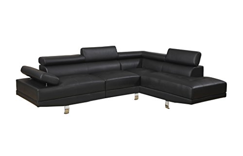Poundex Bobkona Atlantic Faux Leather 2-Piece Sectional Sofa with Functional Armrest and Back Support, Black