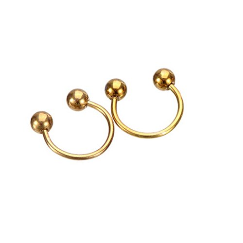 Botrong Nose Rings, 2PCS Stainless Steel Nose Open Hoop Body Piercing Studs Jewelry (Gold) ()