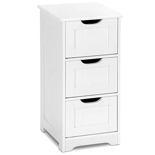 Tangkula Floor Cabinet, 3 Drawers Wooden Storage Cabinet for Home Office Living Room Bathroom Side Table Sturdy Bedroom Night Stand, White (12 x 12 x 25) (Small Drawers White)