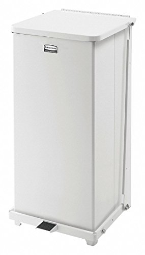Rubbermaid Commercial FGQST24EPLWH The Silent Defenders Steel Step Trash Can, Square with Plastic Liner, 24-gallon, White - Defenders Step