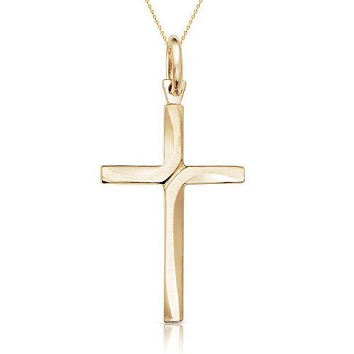 Jewel Connection SOLID 14K YELLOW GOLD CROSS PENDANT NECKLACE FOR WOMEN,MEN, GIRLS AND BOYS (18)
