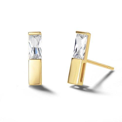 llow Gold Dainty Tiny Statement CZ Cubic Zirconia Bar Earrings Delicate Fine Jewelry Stud Earrings Women Girls ()