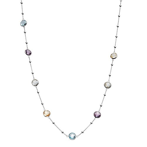 934 Sterling Silver Round Small Stations with Multi-Tonal Bezel Gemstones Chain Necklace, 16