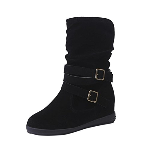 Inkach Womens Winter Boots|Knee High Slouchy Boot Shoes|High Tube Flat Riding Boots (8.5, (Black Outdoor Boots)