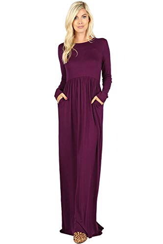 Maxi Dresses for Women Solid Lightweight Long Casual Short Sleeve W/Pocket-Dark Plum (2X) by Sportoli