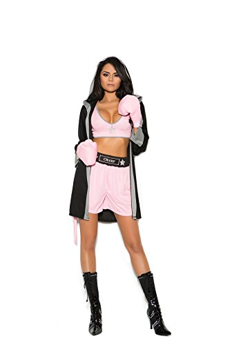 Hot Spot Women's Sexy Boxer Adult Role Play Costume Black/Pink]()