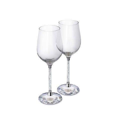 SWAROVSKI SET OF 2 WHITE WINE GLASS -