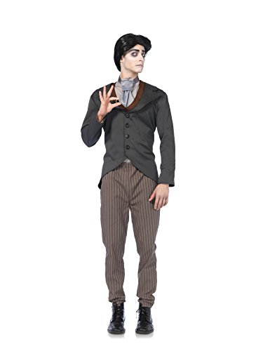 [Leg Avenue Men's Corpse Bride 4 Piece Victor Costume, Grey, Large] (Halloween Costumes For 4 People)