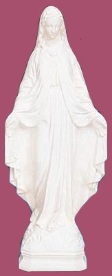 24 inch Our Lady Of Grace – Outdoor Vinyl Statue, White Finish