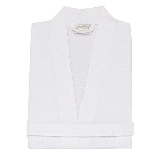 Mirko Diamond Waffle Weave Kimono Robes Bathrobe Spa Hotel Robes by (White,XXL) Diamond Waffle Robe