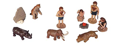 Wild Republic Woolly Mammoth, Sabretooth Tiger, Woolly Rhinoceros, Caveman Figures, Ground Sloth, Kids Gifts, Ice Age Tube, 10-Piece