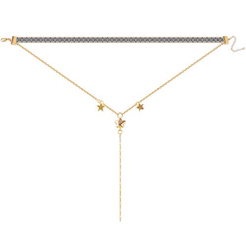 Star Choker Necklace for Women Gifts - Layered Choker Necklace 14K Gold Filled Choker Necklace for Women, Star Choker Necklace for Women Girls Bridal Gifts Wedding Gifts Birthday Gifts for Women