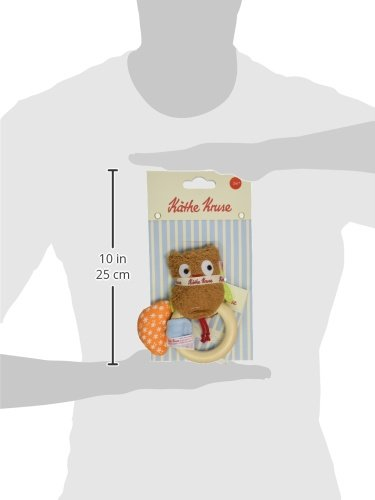 Kathe Kruse Alba The Owl Plush Rattle with Wooden Teething Ring