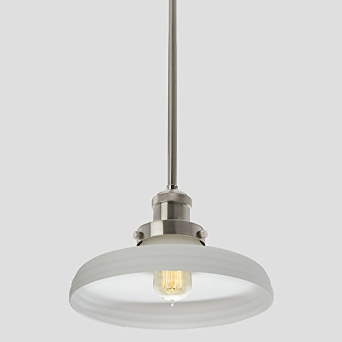 Satin Nickel Clermont Pendant Light with 10-inch Frosted White Glass Shade, Adjustable Hanging Height, Integrated Slope Ceiling Adapter, Modern Industrial Mini Farmhouse Kitchen Lamp, UL & CUL Listed - Brushed Nickel Mini Dome Pendant