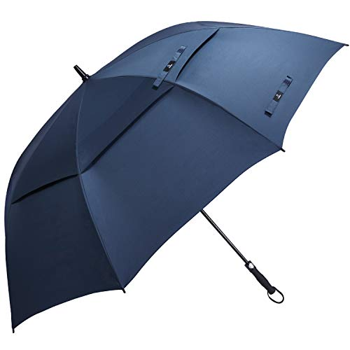 Prospo 68 Inch Automatic Open Golf Umbrella Double Canopy VentedExtra Large Oversize Umbrellas Windproof Waterproof Stick Umbrellas for Men Women(Dark ()