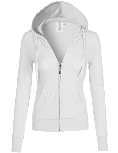 Long Sleeve Zipper Slim Fit Kangaroo Pocket Hoodies 009-White US M