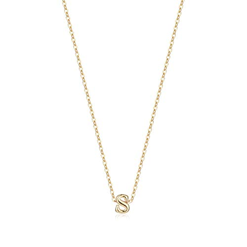 Petite Initial Necklace, 14K Gold Plated Dainty Letter S Necklace Choker Handmade Mini Initial Personalized Necklace for Women Girls Gifts (S) -