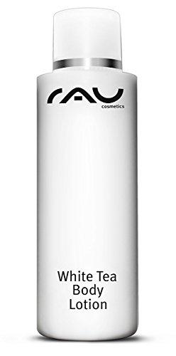 RAU White Tea Body Lotion 200 ml - Reichhaltige Körperlotion für trockene Haut - Luxuspflege für den ganzen Körper, Körpercreme mit weissem Tee, Mandelöl und Cranberry-Öl - diese Body Milk ist sehr gut kombinierbar mit dem Körperpeeling RAU Body Peeling - Anti-Cellulite - Anti-Aging - Bodylotion Gegen Dehnungsstreifen - Naturkosmetik- Für Männer und Frauen