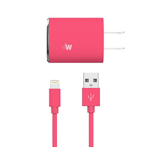 Just Wireless Wall Charger USB 12W/2.4A with 6-Feet Lightning to USB Braided Cable to Charge and Sync iPhone, iPad, iPod - Apple MFI Certified - Pink
