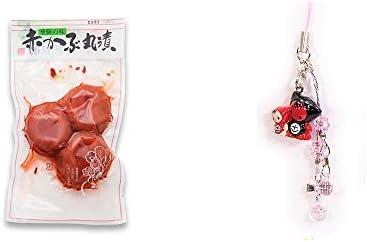[2点セット] 赤かぶ丸漬け(150g)・さるぼぼペアビーズストラップ 【ピンク】/縁結び・魔除け//