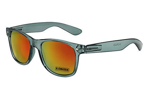 sol y Gafas nerd retro CRUZE® gris transparente rojo X nerd gafas espejado naranja mujer de vintage unisex 8 076 hombre qXBat