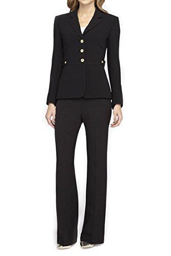 Tahari - Golden Button Crepe Pantsuit - Black - 10 from Tahari