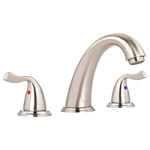 AmazonBasics Traditional 3 Piece Bathroom Faucet Set, Satin Nickel