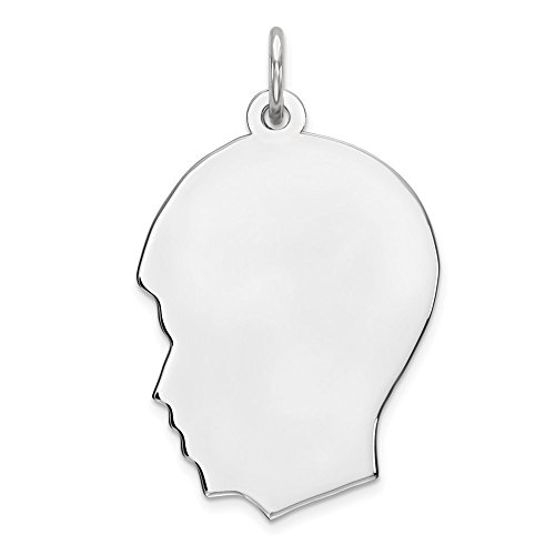 Sterling Silver Plated Finish Engravable Boy Disc Charm Polished Charm (approximately 28 mm x 17 mm)