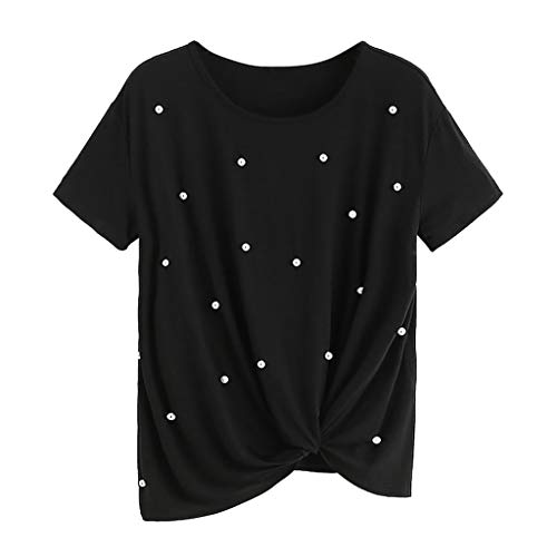Sunhusing Women Solid Color Round Neck Short-Sleeve T-Shirt Beaded Pearl Embellished Hem Knotted Top Black
